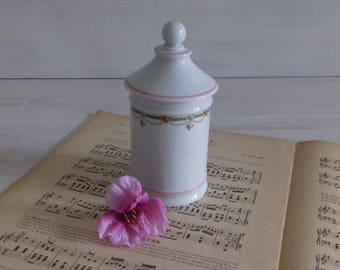 Ointments jar pharmacy apothecary jar Creamer vintage porcelain white Queen Paris France