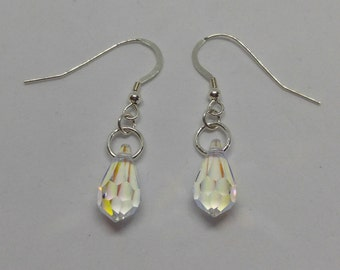 Sterling Silver Swarovski Crystal Clear AB Mini Teardrop Earrings