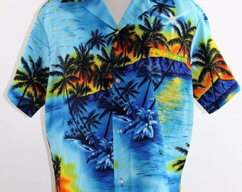 Vintage 70's Men's Island Scene Hawaiian Shirt by BAI NANI Made in Hawaii - XL