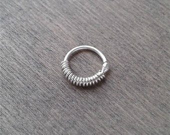 Small hoop earring, 20, 18 gauge hoop for piercing, 16g piercing earring, nose ring, sterling silver hoop, 8mm rook, daith, tragus ring