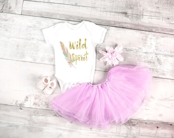 Wild spirit baby onesie for baby girls, available in sizes newborn, 6 months, 12 months, 18 months bohemian hippie baby, baby girl clothing