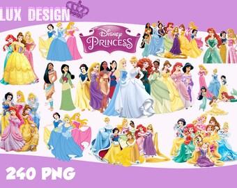 240 Disney Princess Clipart- PNG Images Digital, Clip Art, Instant Download, Graphics transparent background Scrapbook