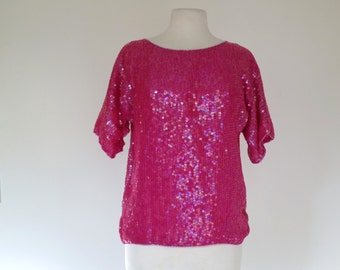 MISS PIGGY // incredible hot pink sequined blouse