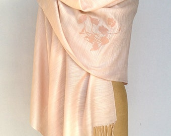 4 matching wedding shawls. Linen-weave pashminas, 20% discount. Bridesmaid shawls, wraps. Screen printed design, Vegan safe.