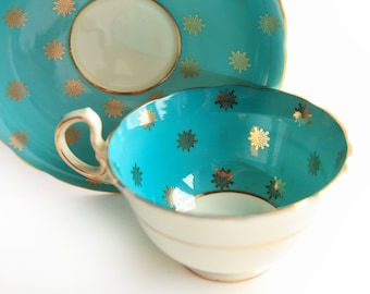 Rare 1930's Aynsley Tea Cup & Saucer ~ Aqua Blue / Turquoise and Gold Sunburst ~ Vintage Made in England Bone China ~ English Tea Party