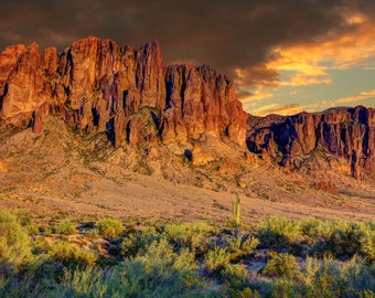 Superstition Mountains - There's a Pot of Gold Up There, custom art, photography, landscape, Lost Dutchman Mine, wall art, canvas art