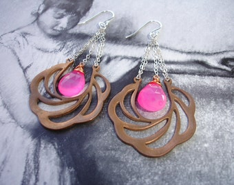 Pink Grapefruit Chalcedony Chandelier Earrings, Vintage Brass Filigree Drops, Sterling Silver, Mixed Metal, Art Nouveau