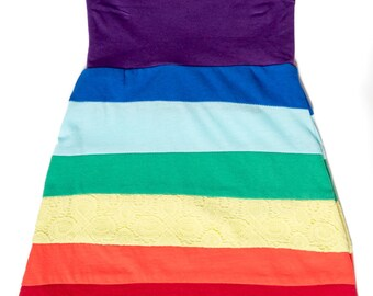 Rainbow Skirt - Rainbow - Size 5 - Upcycled Clothing - Girl Skirt - One of a Kind Clothing - GWEN MADDIE - Eco friendly - Made in Texas
