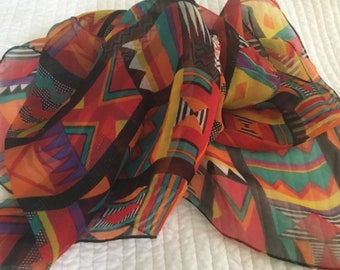 Vintage Tribal Long Scarf Bold Colorful Sheer 80's