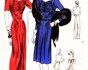 1940s dress pattern vintage sewing reproduction evening gown or afternoon frock film noir style Bust 32 34 36 38