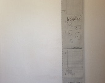 Family Growth Chart  |  custom canvas wall family growth ruler, personalized fabric milestone tracker