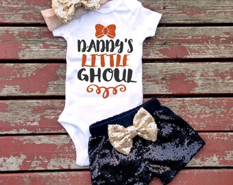 Daddy's Little Ghoul Halloween Bodysuit, Baby Girl, Toddler, Newborn, New Baby, Baby Shower, Infant, Gift, Sparkle, Glitter, Ghost, Witches