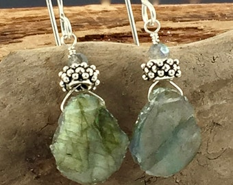 Labradorite and sterling silver slab cut earrings
