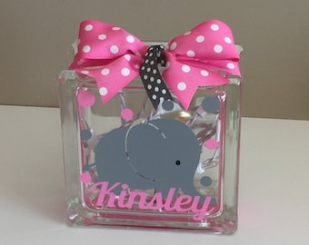 Babies Customized/Personalized Elephant Lighted Glass Block Nightlight (6-inch)