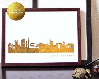 """Gold STUTTGART Poster, STUTTGART City Skyline, Stuttgart """"love forever"""", voucher Stuttgart trip, modern Stuttgart artwork, gold artprint"""