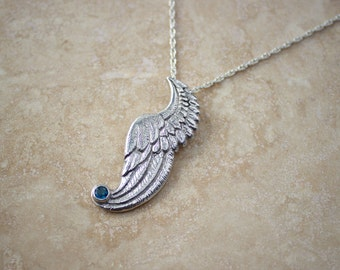 Silver Wing Necklace with Blue Topaz, Handcarved Wing Jewelry, Silver Wing Necklace, Argentium Wing Pendant Silver and Blue Topaz Necklace