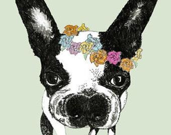 Springtime Boston Terrier Thank You Notes - Set of Four