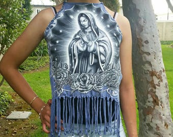 Virgen de Guadalupe Backless Fringe Festival Top, recycled clothing shirt, XS S