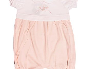 """Tiny3sures-Jumpsuit Short """"Ariane"""" with embroidered roses with ribbon."""