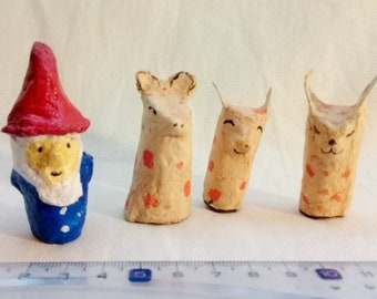 4 Finger Puppets made on recycled paper. Finger puppets in papier mache. Handmade. Animal finger puppets. Hand painted. Resist blows