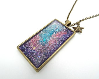 Glitter Necklace, Handpainted Nebula, Resin Necklace, OOAK Handmade, Galaxy Necklace, Bronze Tone, Handmade Jewelry, UK Seller