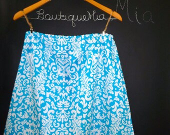 Sample SALE - Will fit Size S/M - Ready to MAIL - A-line SKIRT - Blue and White Damask - by Boutique Mia