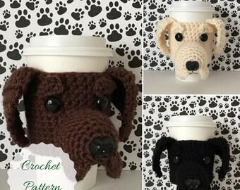Labrador Pattern, Mug Cozy Pattern, Dog Crochet Pattern, Crochet Dog Pattern, Crochet Pattern Dog, Cozy Patterns, Dog Cozies Patterns