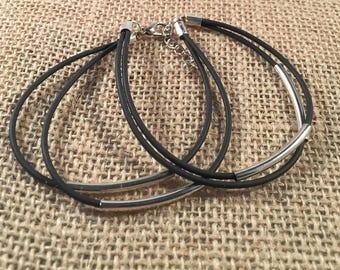 Layered Leather Silver Bracelet, Leather Bracelet