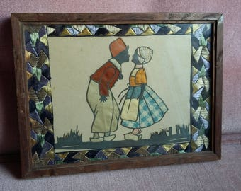 Cute Vintage Dutch Children Print in Embroidery Mount.