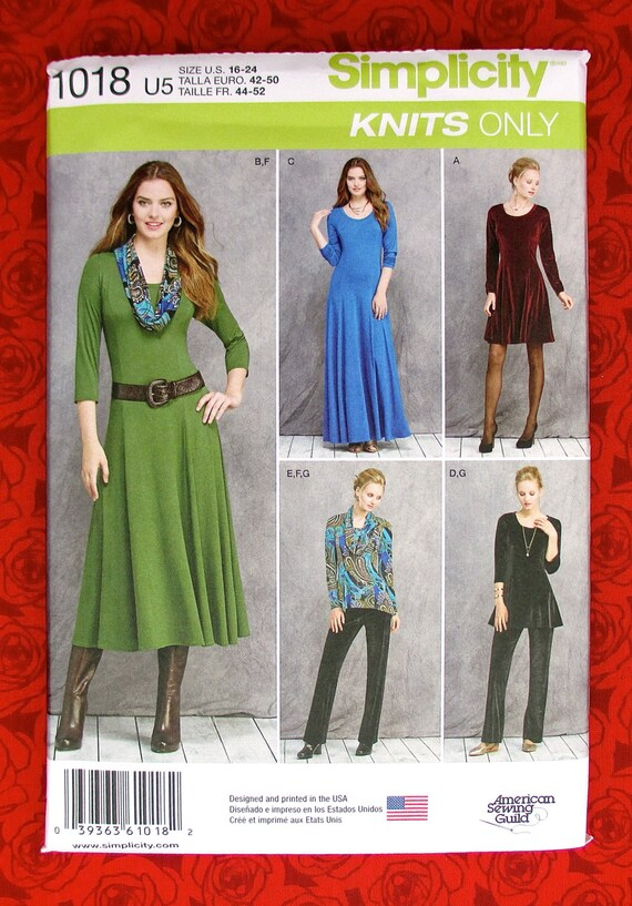 Simplicity 1018 Sewing Pattern Knit Dress Tunic Pants Cowl Maxi
