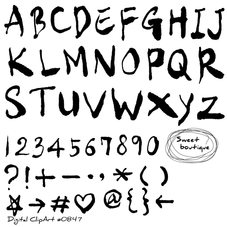 Hand drawn alphabet Black Alphabet Letters Font Clip Art