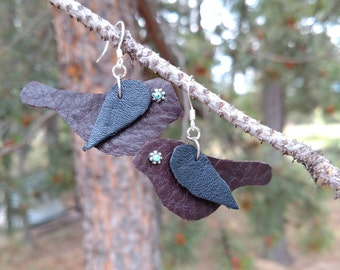 Brown and Black Leather Bird Design Earrings