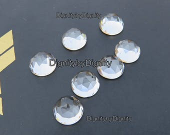 White Topaz 7MM Rose Cut Gemstone - 7MM Faceted Cabochan White Topaz Stone - 7MM Topaz Rosecut Gemstone
