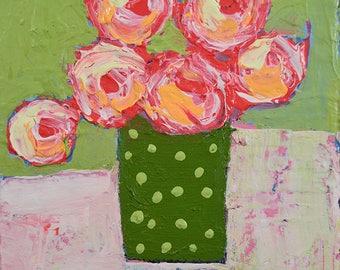 Pink Roses Acrylic Still Life Flower Mixed Media Painting. Green Polka Dots. Greenery Floral Art. No 89