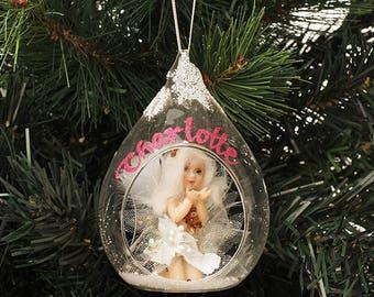 Glass Fairy Teardrop Christmas Ornament