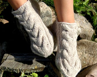 Cable Knit Slippers/Socks,  Hand knit wool socks, Knitted slippers, Knitted Wool Slippers/Socks, Indoor Clogs, Indoor Socks, Knit Booties