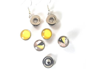 Snap button earrings 12mm and the 2 pairs of abstract and yellow snaps