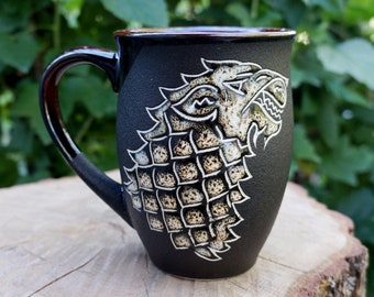 Game of thrones mug Husband gift House Stark Game of thrones gift Ceramic coffee mug Winter is coming Brother gift New dad gift Wolf gifts