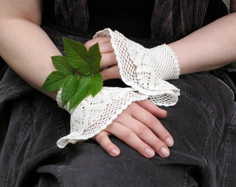 Something Lacy, Something White - crocheted lacy wrist warmers cuffs