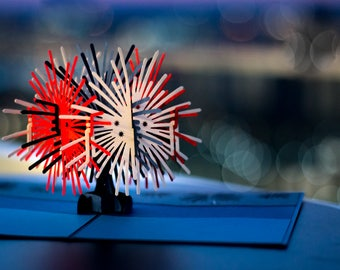 Fireworks Card, Fireworks Pop Up Card, Fire Works Pop Up Card, 3D Fireworks Card, 4th of July Card, July 4th Party Card, Celebratory Card