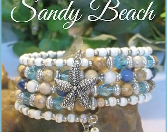 SANDY BEACH Memory Wire Bracelet, Stacking Bracelets,  Coil Bracelet, Multi Strand Bracelet, Gemstone Bracelet, Blue, Handmade, Ravengirl