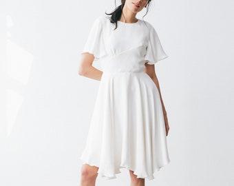 Short Wedding Dress - White - Silk - Wedding Dress - Silk Dress