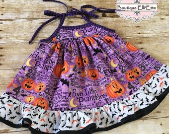 Girls Edith Swing Dress for Girls Jack O'Lanterns and Bats from Boutique Elli'Ette Halloween Trick or Treat
