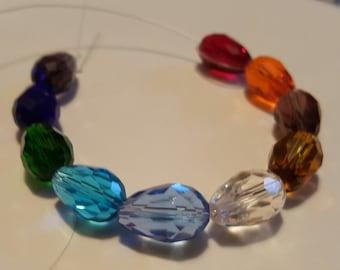 Teardrop Glass Beads - Qty. 10 -  Multicolored - Sun Catcher Beads - Angel Beads -  Drop Beads - Rainbow - 15mm x 10mm x 1.5mm