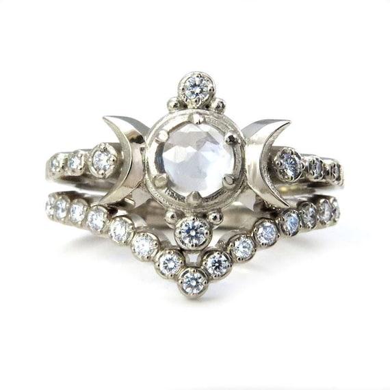 Moon Ring Engagement Set - Rose Cut Moonstone with Diamonds in 14k Palladium White Gold
