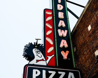 Oklahoma City - Neon Sign - Buildings - Automobile Alley - Architecture - Downtown - Hideaway Pizza Neon Sign