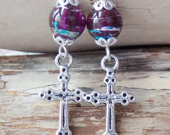 Royal Purple Heaven Cross Earrings, Long Purple Glass, Silver Cross Earrings, Christian Earrings, Vegan Friendly