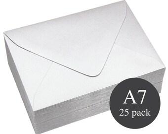 25 - A7 Silver Metallic Euro Flap Envelopes - 5 1/4 x 7 1/4