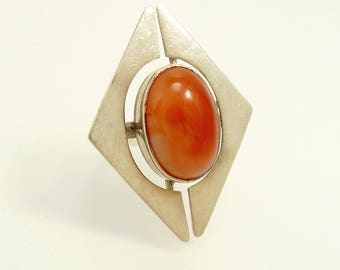 Italy Modernist Ring 800 Sterling & Carnelian Statement Jewelry
