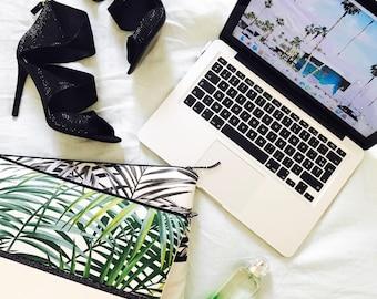 "Sleeve Macbook 13 ""mother of Pearl tropical green, vegan leather"